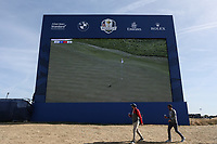 Big scoreboard during Saturday's Fourballs, at the Ryder Cup, Le Golf National, Île-de-France, France. 29/09/2018.<br /> Picture David Lloyd / Golffile.ie<br /> <br /> All photo usage must carry mandatory copyright credit (© Golffile | David Lloyd)