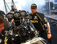 Feb 23, 2014; Chandler, AZ, USA; Crew chief Aaron Brooks for NHRA top fuel dragster driver Richie Crampton during the Carquest Auto Parts Nationals at Wild Horse Motorsports Park. Mandatory Credit: Mark J. Rebilas-USA TODAY Sports