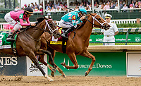 LOUISVILLE, KY - MAY 04: Monomoy Girl #14, ridden by jockey Florent Geroux, pulls ahead to win the Longines Kentucky Oaks at Churchill Downs on May 4, 2018 in Louisville, Kentucky. (Photo by Candice Chavez/Eclipse Sportswire/Getty Images)
