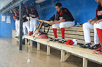 Batavia Muckdogs first baseman Carlos Lopez (36) uses his bat, some tape and a cup for a fishing pole after the dugout flooded during a brief but heavy rain storm during a game against the Hudson Valley Renegades on August 8, 2013 at Dwyer Stadium in Batavia, New York.   The game was called due to unplayable field conditions.  (Mike Janes/Four Seam Images)