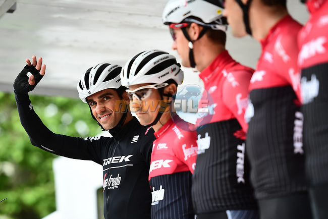 Alberto Contador (ESP) and his Trek-Segafredo team on the podium for the team presentation before Stage 1 of the Criterium du Dauphine 2017, running 170.5km from Saint Etienne to Saint Etienne, France. 4th June 2017. <br /> Picture: ASO/A.Broadway | Cyclefile<br /> <br /> <br /> All photos usage must carry mandatory copyright credit (&copy; Cyclefile | ASO/A.Broadway)