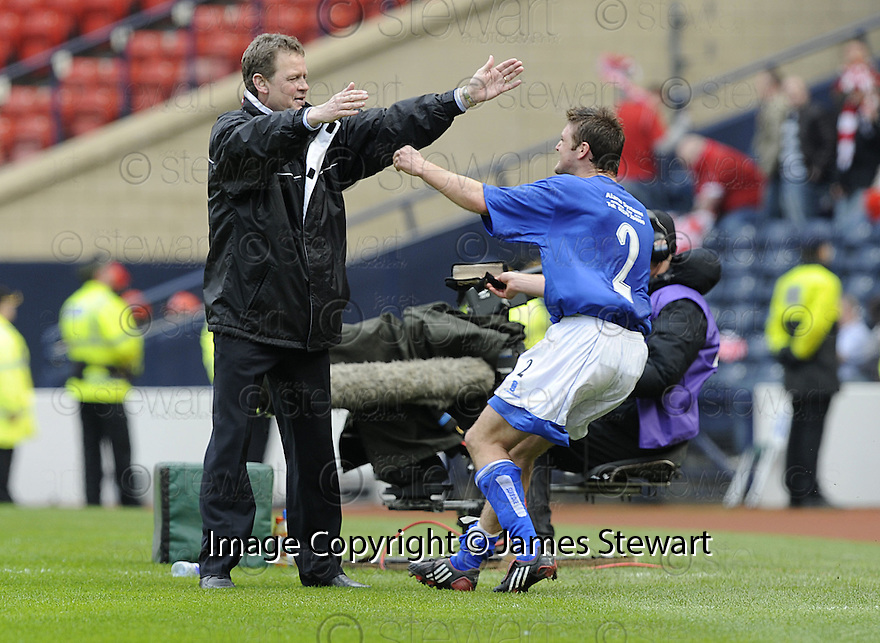 12/04/2008    Copyright Pic: James Stewart.File Name : sct_jspa32_qots_v_aberdeen.QUEEN OF THE SOUTH MANAGER GORDON CHISHOLM CELEBRATES WITH RYAN MCCANN AT THE END OF THE GAME.James Stewart Photo Agency 19 Carronlea Drive, Falkirk. FK2 8DN      Vat Reg No. 607 6932 25.Studio      : +44 (0)1324 611191 .Mobile      : +44 (0)7721 416997.E-mail  :  jim@jspa.co.uk.If you require further information then contact Jim Stewart on any of the numbers above........