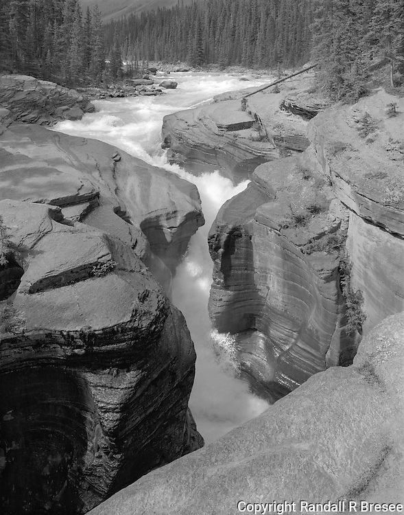 &quot;Mistaya Canyon&quot; Banff National Park; Alberta, Canada<br /> <br /> A 10 minute hike from the parking lot takes visitors to Mistaya Canyon where the water is brisk when the river is wide and gains even more speed when passing through the narrows. This photograph shows ferocious flow of whitewater through a spectacularly narrow gap between the rocks. I normally expose only one negative for most scenes but I exposed three black and white negatives here because the fast water made it extremely difficult to &quot;time&quot; the action.