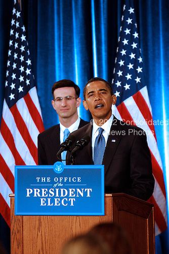 Chicago, IL - November 25, 2008 -- United States President-elect Barack  Obama presents his economic team, Peter Orszag, left, as Director of the Office of Management and Budget (OMB) at his third press conference at the Chicago Hilton & Towers in Chicago, Illinois on Tuesday, November 25, 2008..Credit: Steve Leonard - Pool via CNP