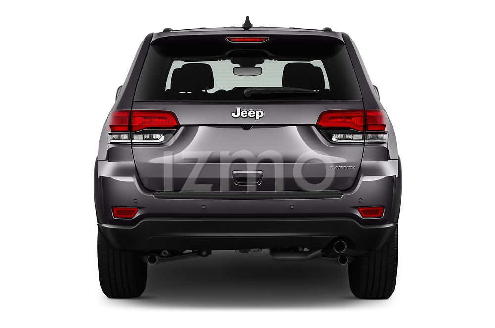 Straight rear view of 2019 JEEP Grand-Cherokee Laredo-E 5 Door SUV Rear View  stock images