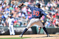 Gwinnett Braves starting pitcher Luke Jackson (50) delivers a pitch during a game against the Charlotte Knights at BB&T Ballpark on May 7, 2017 in Charlotte, North Carolina. The Knights defeated the Braves 7-1. (Tony Farlow/Four Seam Images)