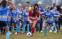AMELIA BATH (IBIZA WEEKENDER) runs away from George Harrison (TOWIE) during the SOCCER SIX Celebrity Football Event at the Queen Elizabeth Olympic Park, London, England on 26 March 2016. Photo by Andy Rowland.