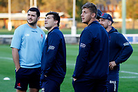 London Scottish players watching planes during the Championship Cup match between London Scottish Football Club and Yorkshire Carnegie at Richmond Athletic Ground, Richmond, United Kingdom on 4 October 2019. Photo by Carlton Myrie / PRiME Media Images