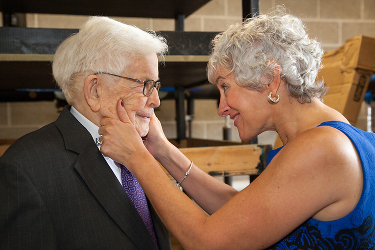 """Illinois College president Barbara A. Farley embraces former congressman Paul Findley, who participated in a panel discussion at the Jacksonville, Ill., school with former President Jimmy Carter and school benefactor Dr. Khalaf Al Habtoor in honor of the new """"Pathways to Peace"""" initiative. Faculty and students will study ways to bring about peace in the Middle East."""