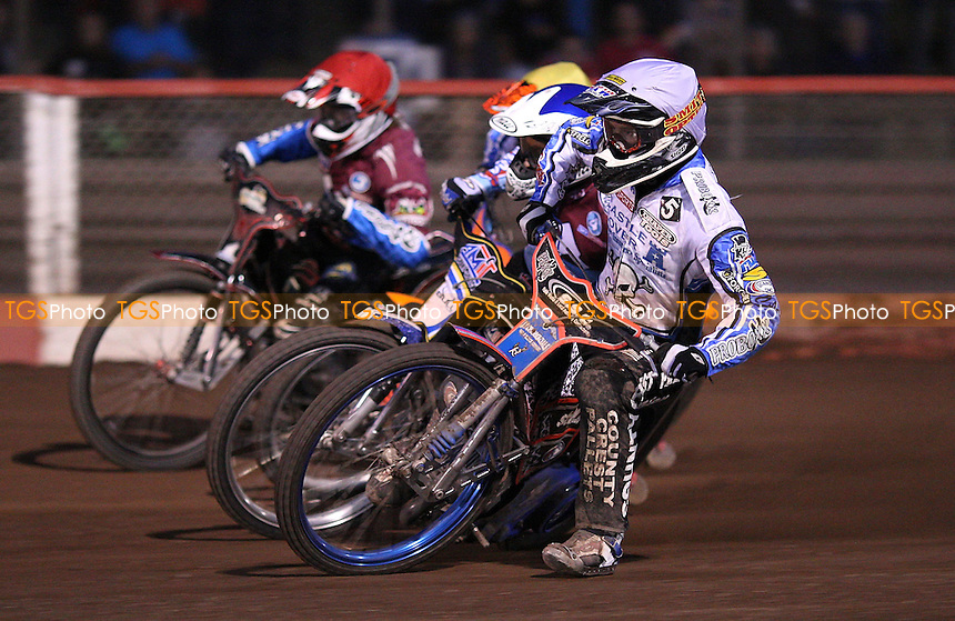Heat 9: Davey Watt (white), Piotr Swiderski (blue), Kyle Newman (yellow) and Adam Shields (red) - Lakeside Hammers vs Poole Pirates, Elite League Speedway at the Arena Essex Raceway, Purfleet - 06/05/11 - MANDATORY CREDIT: Rob Newell/TGSPHOTO - Self billing applies where appropriate - 0845 094 6026 - contact@tgsphoto.co.uk - NO UNPAID USE.