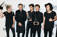 LOS ANGELES, CA, USA - NOVEMBER 23: Niall Horan, Liam Payne, Zayn Malik, Louis Tominson, Harry Styles, One Direction pose in the press room at the 2014 American Music Awards held at Nokia Theatre L.A. Live on November 23, 2014 in Los Angeles, California, United States. (Photo by Xavier Collin/Celebrity Monitor)