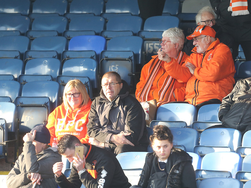 Blackpool fans<br /> <br /> Photographer Rob Newell/CameraSport<br /> <br /> The EFL Sky Bet League One - Southend United v Blackpool - Saturday 17th November 2018 - Roots Hall - Southend<br /> <br /> World Copyright © 2018 CameraSport. All rights reserved. 43 Linden Ave. Countesthorpe. Leicester. England. LE8 5PG - Tel: +44 (0) 116 277 4147 - admin@camerasport.com - www.camerasport.com