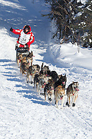 Dallas Seavey on Long Lake at the Re-Start of the 2012 Iditarod Sled Dog Race