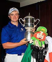 Paul Dunne with the Eurasia Cup after Team Europe overcame Asia 14/10 at Glenmarie Golf and Country Club on the Sunday 14th January 2018.<br /> Picture:  Thos Caffrey / www.golffile.ie