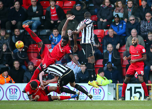 February 18th 2017,  Matchroom Stadium, Leyton, London, England, Skybet Division 2 football, Leyton Orient versus Notts County;  Leyton Orient's Teddy Mezague and Paul McCallum clash with Richard Duffy of Notts County during an Orient attack