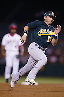 Marco Scutaro of the Oakland Athletics during a game from the 2007 season at Angel Stadium in Anaheim, California. (Larry Goren/Four Seam Images)