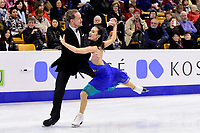 Wednesday, March 30, 2016: Madison Chock and Evan Bates (USA) skate in the short dance event at  the International Skating Union World Championship held at TD Garden, in Boston, Massachusetts. Eric Canha/CSM