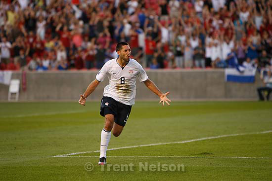Sandy - USA midfielder Clint Dempsey heads in a goal in the first half. USA vs. El Salvadar FIFA World Cup Qualifier Soccer Saturday, September 5 2009 at Rio Tinto Stadium. .