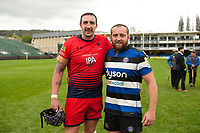 Will Spencer of Worcester Warriors and Tom Dunn of Bath Rugby pose for a photo after the match. Aviva Premiership match, between Bath Rugby and Worcester Warriors on October 7, 2017 at the Recreation Ground in Bath, England. Photo by: Patrick Khachfe / Onside Images