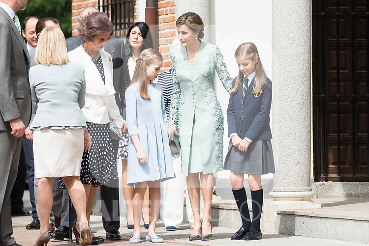 Queen Sofia, Princess Leonor, Queen Letizia and Princess Sofia arrives to the First Communion of princess Sofia at Asuncion de Nuestra Senora Church in Madrid, May 17, 2017. Spain.<br /> (ALTERPHOTOS/BorjaB.Hojas)
