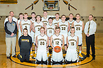 December 16, 2017- Tuscola, IL- The 2017-2018 Tuscola Warrior Basketball Varsity team. Standing alternating from left are coach Bob Taylor, coach Jacob Hilgendorf, Jacob Kibler, Cade Kresin, Ben Dixon, Tyler Meinhold, Cale Sementi, Dalton Hoel, Brayden VonLanken, Logan Tabeling, Lucas Sluder, Noah Woods, and coach Justin Bozarth. Kneeling from left are manager Dillan Alcorn, Will Little, Haden Cothron, and Tim Jaster. [Photo: Douglas Cottle]