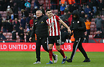 Chris Wilder manager of Sheffield Utd and John Egan of Sheffield Utd during the Premier League match at Bramall Lane, Sheffield. Picture date: 9th February 2020. Picture credit should read: Chloe Hudson/Sportimage
