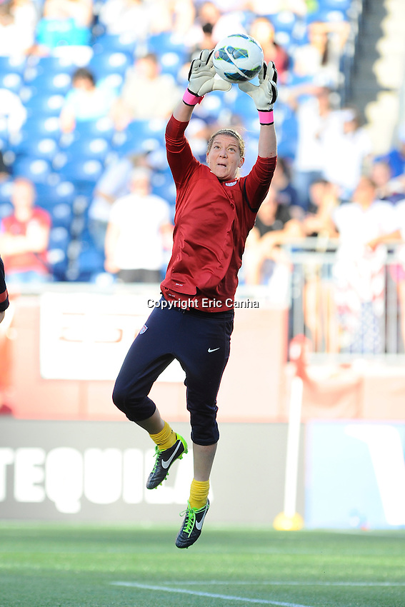 US Women's National goalkeeper Nicole Barnart (18) warming up for the International Friendly soccer match between the USA Women's National team and the Korea Republic Women's Team held at Gillette Stadium in Foxborough Massachusetts.   Eric Canha/CSM