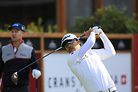 Piya Swangarunporn (THA) tees off the 1st tee during Thursday's Round 1 of the 2017 Omega European Masters held at Golf Club Crans-Sur-Sierre, Crans Montana, Switzerland. 7th September 2017.<br /> Picture: Eoin Clarke | Golffile<br /> <br /> <br /> All photos usage must carry mandatory copyright credit (&copy; Golffile | Eoin Clarke)