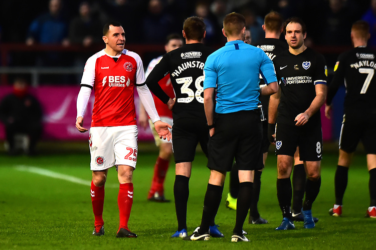Fleetwood Town's Dean Marney reacts to being shown a red card by Referee Matthew Donohue <br /> <br /> Photographer Richard Martin-Roberts/CameraSport<br /> <br /> The EFL Sky Bet League One - Fleetwood Town v Portsmouth - Saturday 29th December 2018 - Highbury Stadium - Fleetwood<br /> <br /> World Copyright © 2018 CameraSport. All rights reserved. 43 Linden Ave. Countesthorpe. Leicester. England. LE8 5PG - Tel: +44 (0) 116 277 4147 - admin@camerasport.com - www.camerasport.com