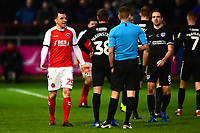 Fleetwood Town's Dean Marney reacts to being shown a red card by Referee Matthew Donohue <br /> <br /> Photographer Richard Martin-Roberts/CameraSport<br /> <br /> The EFL Sky Bet League One - Fleetwood Town v Portsmouth - Saturday 29th December 2018 - Highbury Stadium - Fleetwood<br /> <br /> World Copyright &copy; 2018 CameraSport. All rights reserved. 43 Linden Ave. Countesthorpe. Leicester. England. LE8 5PG - Tel: +44 (0) 116 277 4147 - admin@camerasport.com - www.camerasport.com