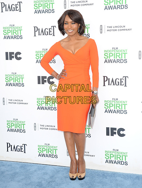 SANTA MONICA, CA, MARCH 01: Angela Bassett at The 2014 Film Independent Spirit Awards held at Santa Monica Beach in Santa Monica, California, USA on March 1st, 2014.                                                                              <br /> CAP/DVS<br /> &copy;Debbie VanStory/Capital Pictures