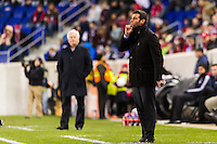 D. C. United head coach Ben Olsen. D. C. United defeated the New York Red Bulls 1-0 (2-1 in aggregate) during the second leg of the MLS Eastern Conference Semifinals at Red Bull Arena in Harrison, NJ, on November 8, 2012.