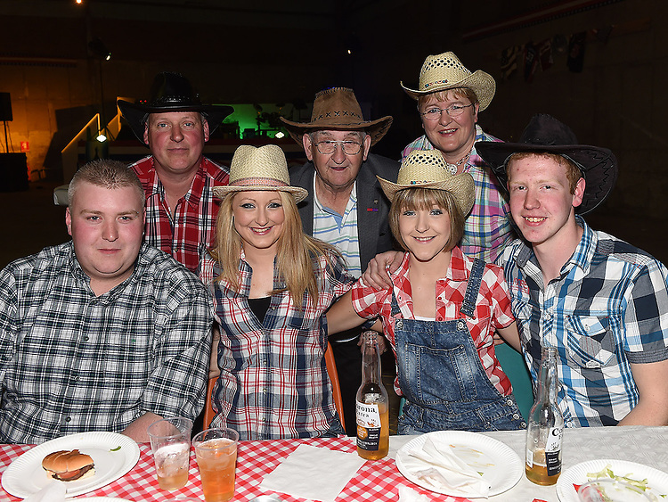 Danny McDeeney, Emma Devine, Leanne Devine, Bernadette Hoey, Paddy Devine, Steven McCabe and Paula Devine pictured at the barn dance at Oberstown farm. Photo:Colin Bell/pressphotos.ie