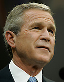 United States President George W. Bush delivers his victory speech during an event at the Ronald Reagan Building, November 3, 2004 in Washington DC. After deciding not to contest the votes in the battleground state of Ohio, Democratic presidential candidate Senator John Kerry (Democrat of Massachusetts) called President Bush to concede and congratulated him. <br /> Credit: Mark Wilson / Pool via CNP