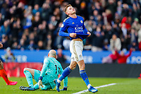 1st February 2020; King Power Stadium, Leicester, Midlands, England; English Premier League Football, Leicester City versus Chelsea; Harvey Barnes of Leicester City rues a missed opportunity