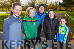 Ciara Gallagher, Rachel, Alan, Lucy and Sophie Mulgrew from Tralee attending the 100th Junior Park Run in the Tralee town park on Sunday.