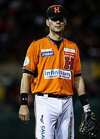 Luis Alfonso Garcia, durante juego de beisbol de la Liga Mexicana del Pacifico temporada 2017 2018. Quinto juego de la serie de playoffs entre Mayos de Navojoa vs Naranjeros. 6Enero2018. (Foto: Luis Gutierrez /NortePhoto.com)