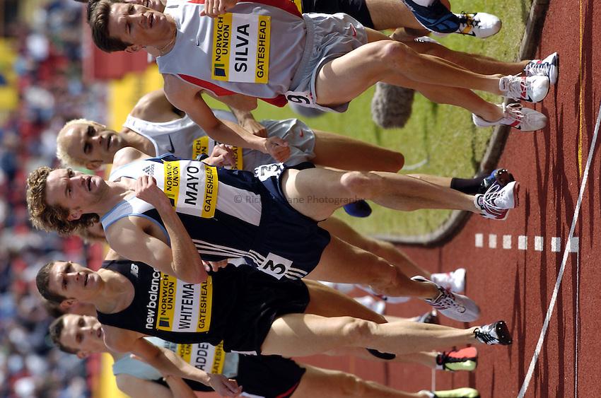 Photo. Richard Lane..Norwich Union British Grand Prix at Gateshead International. 27/06/2004..Tom Mayo in the mens 1500m.