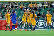 26th March 2018, nib Stadium, Perth, Australia; Womens International football friendly, Australia Women versus Thailand Women; Alanna Kennedy and Larissa Crummer of the Matildas celebrate their second half goal