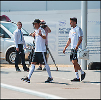 BNPS.co.uk (01202 558833)<br /> Pic: PhilYeomans/BNPS<br /> <br /> Ozil emerges from the terminal building.<br /> <br /> Footballing aristocrats Real Madrid flew into the unlikely enviroment of Bournemouth today for a much anticipated friendly against the seaside town's football team.<br /> <br /> Despite fears that their second team would turn up excited fans at the airport couldn't beleive their eyes when Ancelotti led out Ronaldo, Zidane, Kaka, Modric and many more stars from the terminal building.