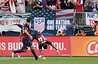 East Hartford, CT - Saturday July 01, 2017: Dom Dwyer scores a goal during an international friendly game between the men's national teams of the United States (USA) and Ghana (GHA) at Pratt & Whitney Stadium.