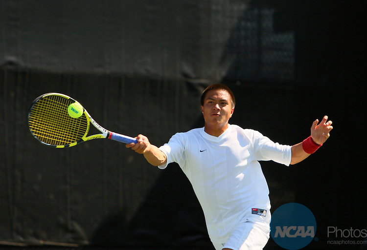 19 MAY 2009: Daniel Nguyen of the University of Southern California returns a serve in his doubles match with Abdullah Magdas against Shuhei Uzawa and Steven Williams of Ohio State University during the Division I Men's Tennis Championship held at the George P. Mitchell Tennis Center on the Texas A&M University campus in College Station, TX.  Southern California defeated Ohio State 4-1 to claim the national title. Darren Carroll/NCAA Photos