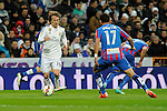 Real Madrid´s Luka Modric and Levante UD´s Jordi Xumetra Feliu during 2014-15 La Liga match between Real Madrid and Levante UD at Santiago Bernabeu stadium in Madrid, Spain. March 15, 2015. (ALTERPHOTOS/Luis Fernandez)