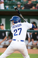 Jake Henson (27) of the Ogden Raptors at bat against the Grand Junction Rockies in Pioneer League action at Lindquist Field on July 6, 2015 in Ogden, Utah. Ogden defeated Grand Junction 8-7. (Stephen Smith/Four Seam Images)
