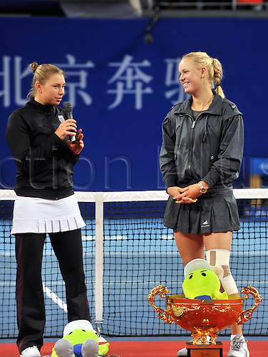 12.10.2010 Beijing, CHINA Caroline Wozniacki of Denmark defeats Vera Zvonareva of Russia 2:1 (6-3, 3-6 and 6-3) during the womens final at the China Open 2010 tennis tournament.