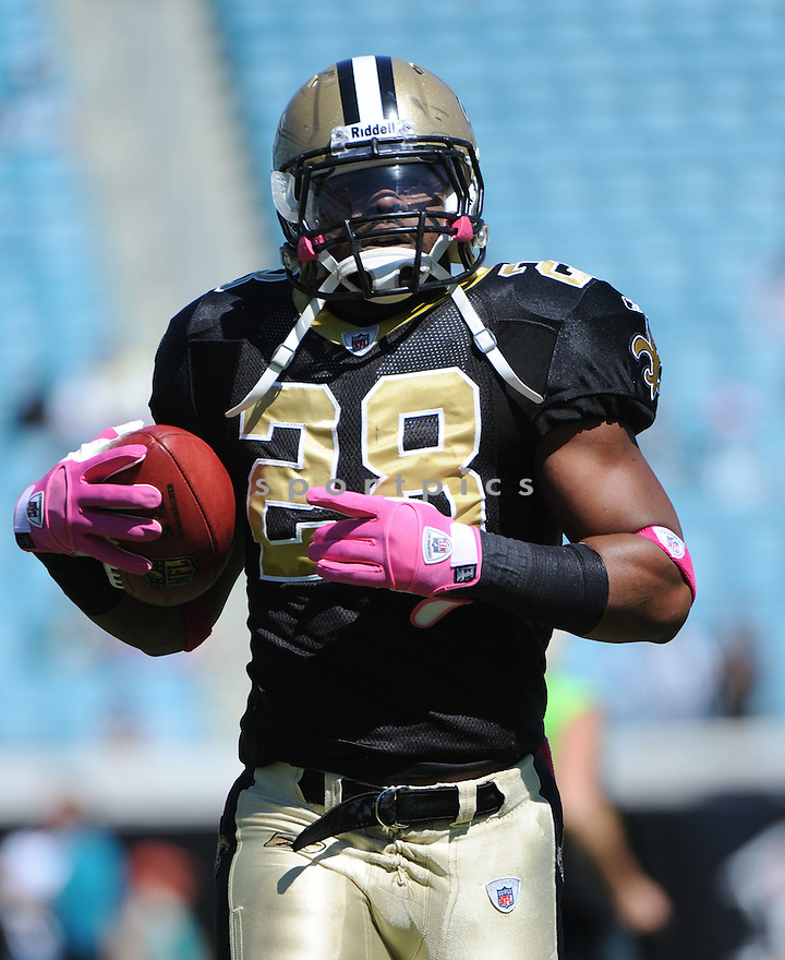 MARK INGRAM, of the New Orleans Saints, in action during the Saints game against the Jacksonville Jaguars on October 2, 2011 at EverBank Field in Jacksonville, FL. The Saints beat the Jaguars 23-10.