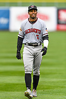 Wynton Bernard (6) of the Sacramento River Cats in the outfield before the game against the Salt Lake Bees in Pacific Coast League action at Smith's Ballpark on April 11, 2017 in Salt Lake City, Utah. The River Cats defeated the Bees 8-7. (Stephen Smith/Four Seam Images)