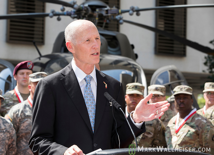 "Florida Governor Rick Scott speaks during the Florida Department of Military Affairs and the Florida National Guard sponsored ""Florida National Guard Day"" at the Capitol"