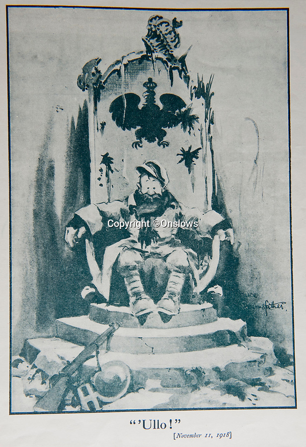 BNPS.co.uk (01202 558833)<br /> Pic: Onslows/BNPS<br /> <br /> Bairnsfather's final cartoon of an exhausted British soldier on the Kaiser's throne.<br /> <br /> Rare cartoons reveal the rarely seen humourous side of life in the trenches during WW1.<br /> <br /> Cartoons which made light of the First World War in an attempt to boost the morale of troops have emerged for sale 100 years after the outbreak of fighting.<br /> <br /> The humorous sketches, which sent up the British high command and sympathised with squaddies, provided light relief to weary soldiers on the front line.<br /> <br /> They were the handiwork of Bruce Bairnsfather, a soldier who had been hospitalised during the Second Battle of Ypres in Belgium in 1915.<br /> <br /> Bairnsfather suffered shellshock and damaged hearing and was posted to Salisbury Plain to the headquarters of the 34th Division.<br /> <br /> While there he drew a series of cartoons about a curmudgeonly British Tommy called Old Bill, who sported a trademark walrus moustache and balaclava.<br /> <br /> Bairnsfather drew light-hearted cartoons for The Bystander magazine and went on to produce seven special editions throughout the war called Fragments from France.<br /> <br /> A rare, limited first edition of Bullets and Billets signed by Bairnsfather is tipped to fetch 400 pounds while the complete Fragments from France set is expected to sell for 150 pounds at a sale at Onslows auction house in Blandford, Dorset.<br /> <br /> The are being sold by a collector of World War I memorabilia from Dorset.