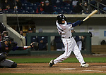 Aces Kelby Tomlinson swings during the 2019 opening day game between the Reno Aces and the Albuquerque Isotopes at Greater Nevada Field in Reno, Nevada on Tuesday, April 9, 2019.